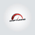 Car chip tuning logo red gradient vector design Royalty Free Stock Photo