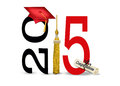 Red graduation cap for 2015 Royalty Free Stock Photo