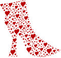 Red Granny Boot of Hearts Royalty Free Stock Photos