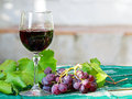 Red grapes and wine Royalty Free Stock Images