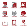 Red and gray furniture and decor modern logo vector set design Royalty Free Stock Photo