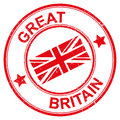 Red great britain stamp or seal round with the words and the british flag Royalty Free Stock Images