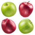 Red and green apple collection. Set on white. Royalty Free Stock Photo