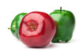 Red and green apple a delicious on white background with shadows Royalty Free Stock Photography