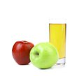 Red and green apples with juice isolated on white Royalty Free Stock Photos