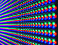 Red green blue of led diod on panel screen selective focus Stock Images