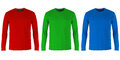 Red, green and blue long sleeve t-shirts Royalty Free Stock Photo