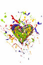 Red green blue yellow paint made heart Royalty Free Stock Photo
