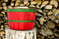 Red and green bushel basket Royalty Free Stock Photos