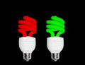 Red green cfl bulb this is fully edited energy efficient Stock Images