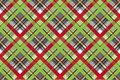Red green check fabric texture seamless background Royalty Free Stock Photo