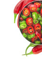 Red and green chili pepper modern steel bowl with fresh ripe whole sliced with selective focus isolated on white Royalty Free Stock Photo