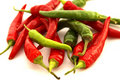 Red & Green Chili Peppers Stock Photos