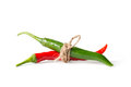Red green chili tight together white background Royalty Free Stock Photography