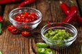 Red and Green Chilis (cutted) Royalty Free Stock Photo
