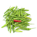 Red green chilis isolated on white background Royalty Free Stock Photo