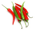Red green chilli peppers isolated and on white background Royalty Free Stock Photo