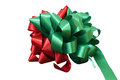 Red and Green Christmas Bow on White Royalty Free Stock Photo