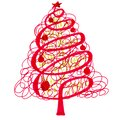 Red and green christmas tree with patterns, graphic linear drawing on white background Royalty Free Stock Photo