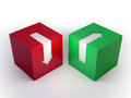 Red and green cubes with arrows Royalty Free Stock Photo