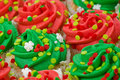 Red and Green Cupcakes Royalty Free Stock Photography