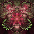 Red And Green Fractal Flowers