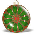 Red Green Gold Flower Christmas Ornament Stock Images