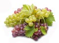 Red and green grapes with leaves isolated on white background Royalty Free Stock Photo
