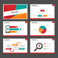 Red green and green infographic element and icon presentation templates flat design set for brochure flyer leaflet website