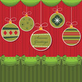 Red and green hanging decorations Stock Images
