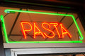 A red and green neon pasta sign Royalty Free Stock Image