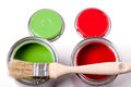 Red green paint in the bank to repair and brush Royalty Free Stock Photo