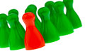 Red green pawns manager leader team Royalty Free Stock Photos