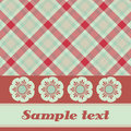 Red and green plaid flower card Royalty Free Stock Images