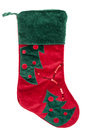Red and green plush Christmas stocking Royalty Free Stock Photo