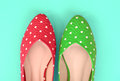 Red and green polka dot flat shoes (Vintage style) Royalty Free Stock Photo
