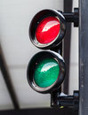 Red and green small traffic light Royalty Free Stock Images