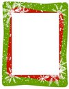 Red Green Snowflake Frame Stock Photo