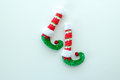 Red and green elf boots isolated on white Royalty Free Stock Photo