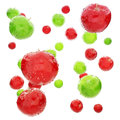 Red and green wet apple s background Stock Photo