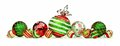 Red, green, and white Christmas ornament border isolated on white Royalty Free Stock Photo
