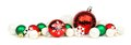 Red, green and white Christmas ornament border Royalty Free Stock Photo