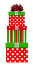 Opened red, green and white striped Christmas gift box
