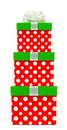 Red, green and white polka dot Christmas gift box isolated