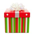Red, green, white striped Christmas gift box with white bow