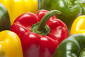 Red,green,yellow bell peppers Royalty Free Stock Photo