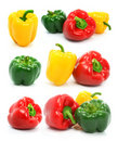 Red green and yellow pepper Stock Photo
