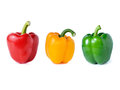 Red green yellow pepper on white background Stock Images