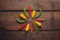 Red, green, yellow peppers Royalty Free Stock Photo