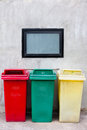 Red green and yellow recycle bin with detail Stock Image